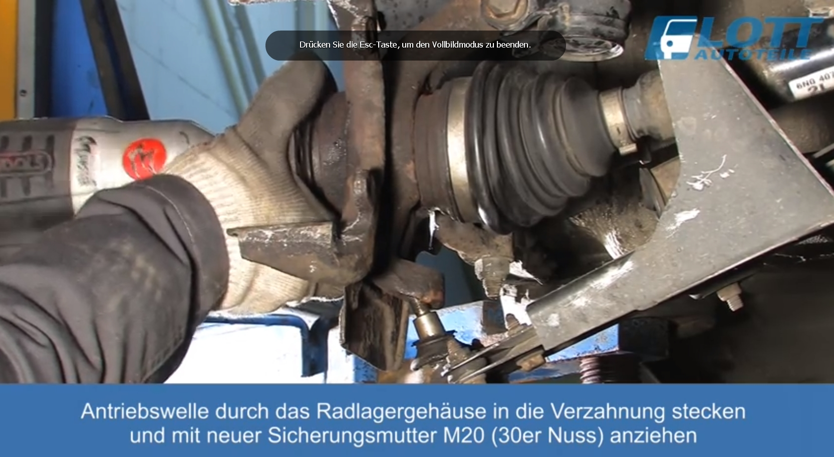 VW Lupo Traggelenk und Antreibswelle montieren