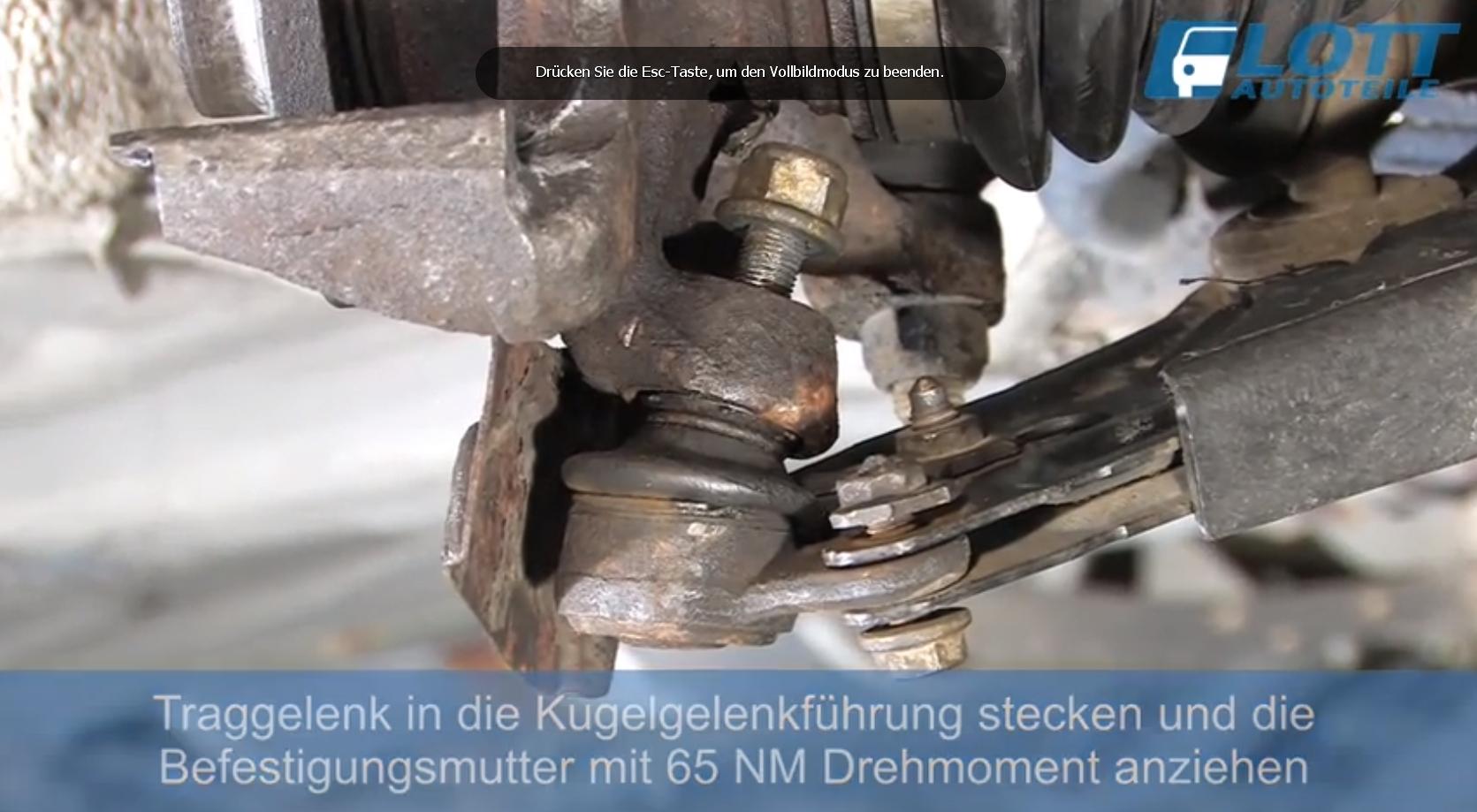 VW Lupo Traggelenkmutter mit 65 NM anziehen