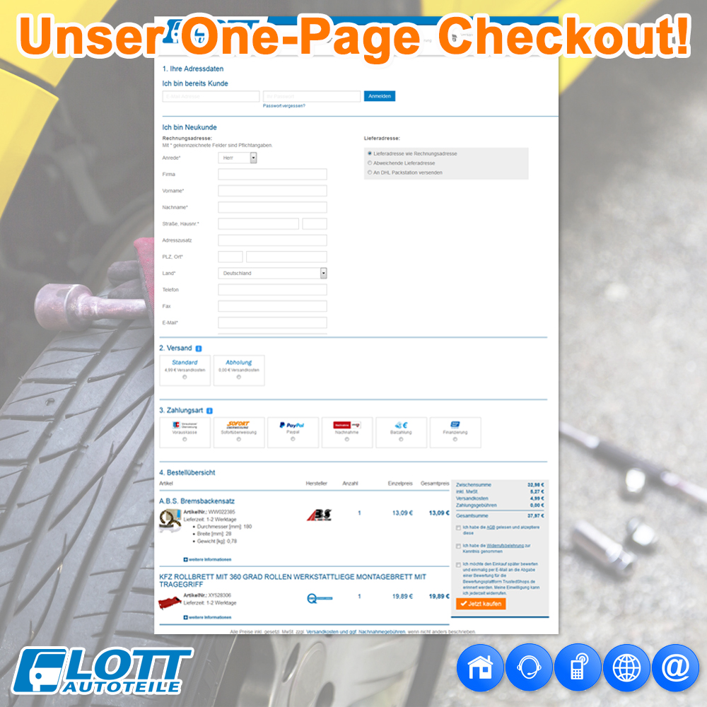 Der One Page Checkout im Lott Onlineshop